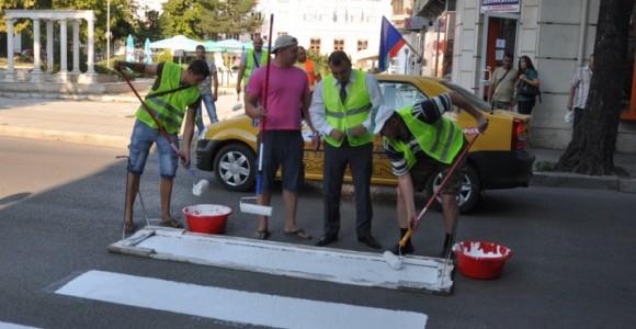Маркиране на пешеходни пътеки